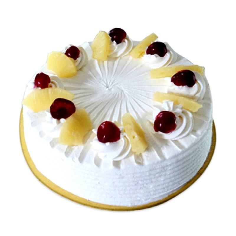 Cake Designs For Half Kg : Eggless Pineappale Cake Half kg
