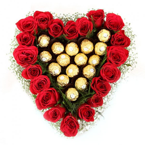 Roses Ferrero Rocher in Heart