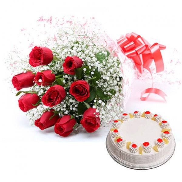 12 Red Roses with Cake
