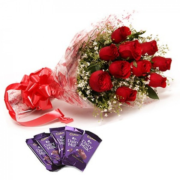 Red Roses With Dairy Milk Chocolates