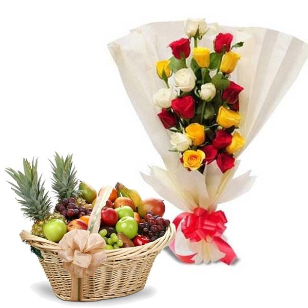 Comtemporary Mix Roses And Fruits