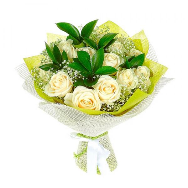 15 White Roses In Net