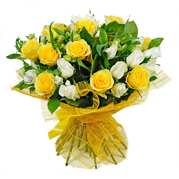 21 Yellow and White Roses