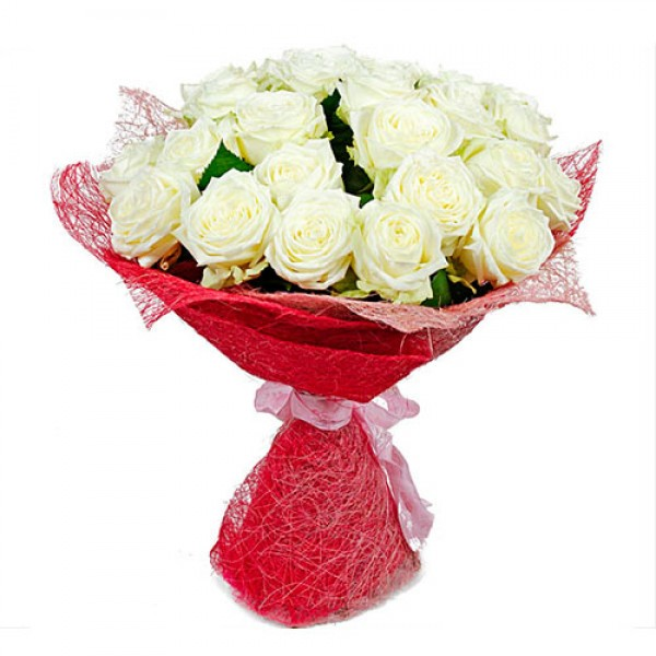 25 White Roses Bunch