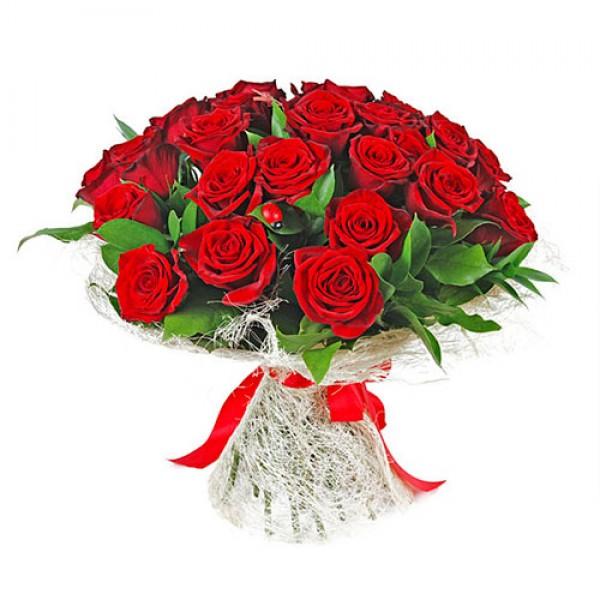 25 Red Roses In Jute