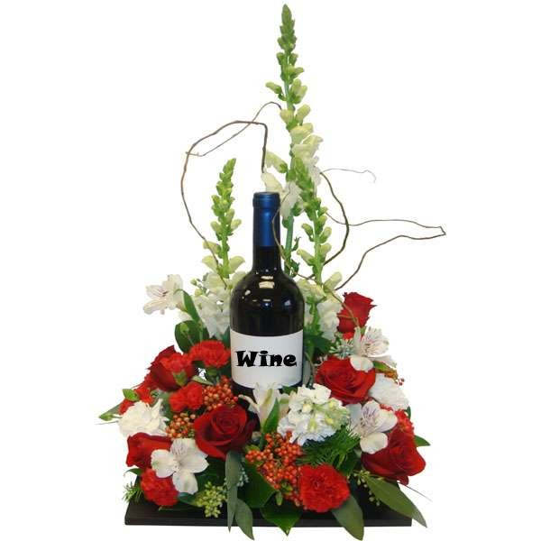 Mix Flowers Basket With Wine