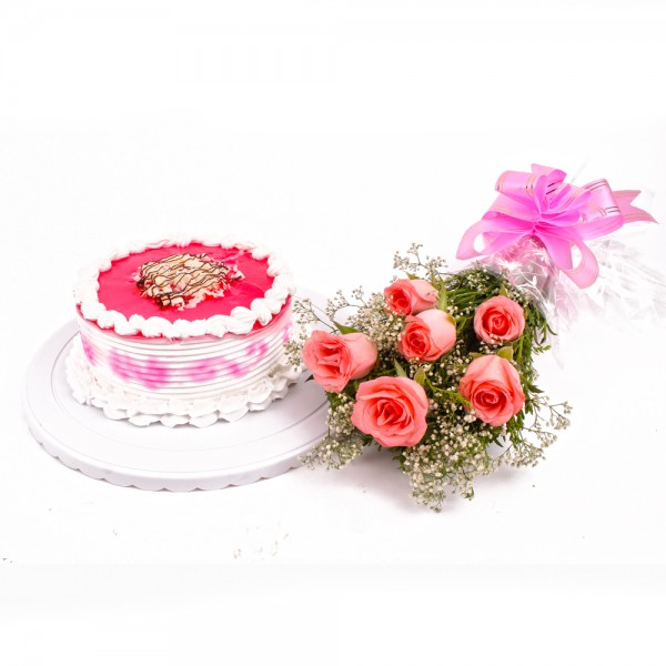 Half kg Strawberry Cake and Pink Roses Combo