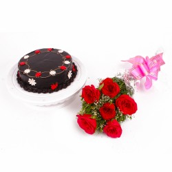 One Kg Chocolate Cake and Six Red Roses Bouquet