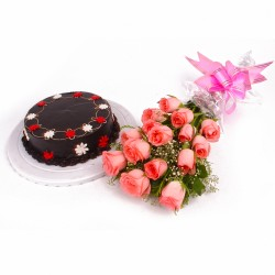 Eggless Chocolate Cake with 15 Pink Roses