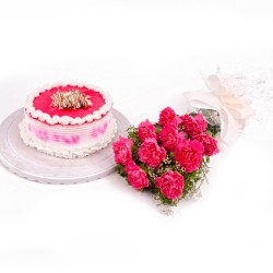 10 Carnation Bunch and Strawberry Cake