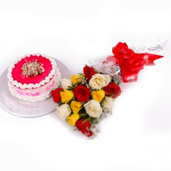 Strawberry Cake and Multi Color Roses