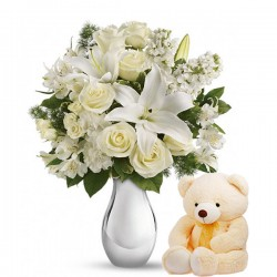 White Flowers with Teddy